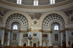 Side altars of the Parish Church of Santa Maria in Mosta, Malta. Stock Photography