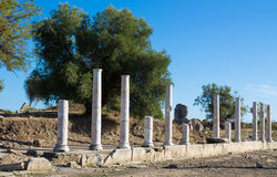 Side ancient Greek city ruin columns Stock Image