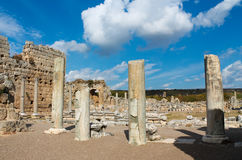 Side ancient Greek city ruins. Side ancient city ruins on the southern Mediterranean coast of Turkey Stock Photo