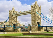 Side angle view of London Tower Bridge on the River Thames Royalty Free Stock Photography