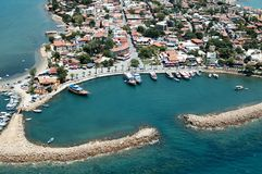 Side, Antalya, Turkey. Elevated view of old city and harbour from Antalya, Turkey Royalty Free Stock Photos