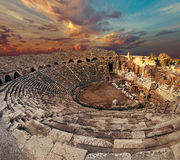 Side antique amphitheatre fish eye top view Royalty Free Stock Images