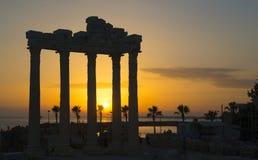 Side - Apollo Temple against sundown stock photo