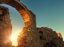 Side archway ruins in sunset time, Manavgat, Turkey Royalty Free Stock Photography