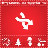 2 side arrow Icon Vector. And bonus symbol for New Year - Santa Claus, Christmas Tree, Firework, Balls on deer antlers Royalty Free Stock Photos