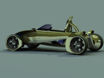 Side back. Render concept car of yellow colour royalty free illustration