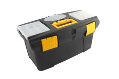 Side black plastic tool box. On white background stock photography