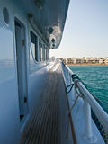 Side of a boat. And buildings in the back Royalty Free Stock Photography