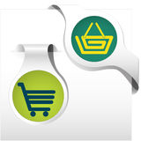 Side bookmark collection cart basket. Side bookmarks light and dark green shadowed on the white background with icon of basket and cart. Vector illustration Stock Image