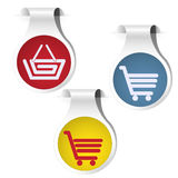 Side bookmark collection cart basket. Side bookmarks red, yellow and blue shadowed on the white background with icon of basket and cart. Vector illustration Stock Images