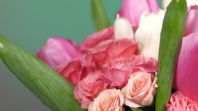 Side of bouquet flower with roses and tulips, on red, green, rotation, close up stock video footage