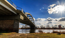 Side of the bridge. In Santok, Poland. Beginning of the spring Royalty Free Stock Photography