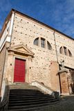 Side of the building, past the church, now used as exhibits in Monselice in the Veneto (Italy) Stock Photo