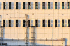 The side of building with sunset light Royalty Free Stock Image