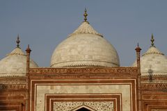 The side building in the Taj Mahal, India. Three domes of one of the side buildings in the Taj Mahal building complex. Agra, India Royalty Free Stock Image