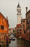 Side Canal Church Bridges Venice Italy Stock Photo
