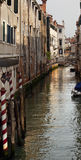 Side Canal Poles Bridges Venice Italy Stock Photo
