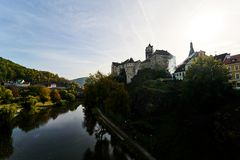 River and castle of Loket, Czech Republic royalty free stock image