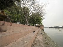 Side of Chaophaya river. In Bangkok on cloudy day Royalty Free Stock Photography