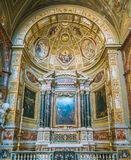 Side chapel in the Church of Sant`Agostino in Rome, Italy. Sant`Agostino is a Roman Catholic church in the piazza of the same name near Piazza Navona, in the Stock Photography