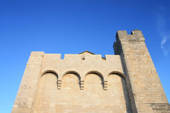 Side of the church  of Saintes Maries de la Mer Stock Photos