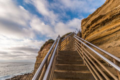 Side of Cliff at Ladera Street with Staircase, Sunset Cliffs royalty free stock photo