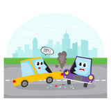 Side collision of car characters on city street. Road accident, side collision on city street with car characters, cartoon vector illustration. Two cartoon car vector illustration