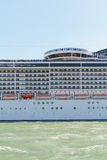 A side of a cruise ship while passing close to Venice Royalty Free Stock Photography