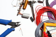 Side cutter. Some colorful wire rolls with side cutter and electronics stock photos