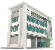 Side of 3D modern office building architecture exterior design i Stock Photos