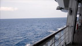 Side deck of cruise ship sailing stock footage