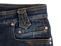 Side denim jeans pocket. Isolated on white Royalty Free Stock Images