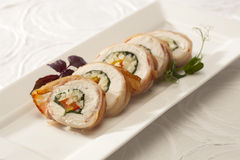Side dish with chicken roll Royalty Free Stock Photos