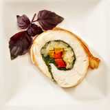 Side dish with chicken roll. Side dish with roll of oven baked chicken, rice and vegetables Royalty Free Stock Photography