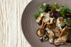 Side dish of fried shiitake mushrooms Stock Photography