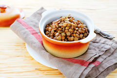 Side dish of green lentils Royalty Free Stock Image