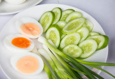 Side dishes, bolied eggs, slice cucumber leek, Stock Photos