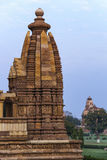 Side dome of Hindu temple in India's Khajuraho. Stock Photo