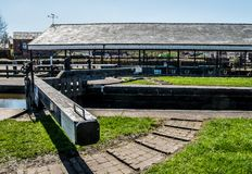 Side of the Dry Dock. The view of the side of the dry dock in the centre of Wigan Royalty Free Stock Photo