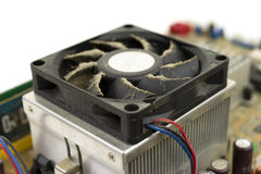 Side of dusty CPU fan Royalty Free Stock Images