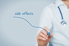 Side effects. Medical side effects concept. Doctor practitioner draw descending graph of the side effects of pharmaceuticals Royalty Free Stock Images