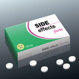Side Effects Medicine Package. Tablets named SIDE EFFECTS forte with a dazed smiley as brand logo on the cardboard package. It is a medical fake product. Vector Stock Image