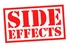SIDE EFFECTS. Red Rubber Stamp over a white background Stock Photography