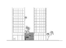 Side elevation of modern building. A side elevation of a two blocks modern youth hostel Stock Image