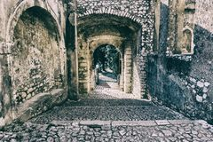 Side entrance of an ancient castle royalty free stock photo