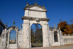 Side entrance of the garden of Villa Pisani at Stra a town in the province of Venice in the Veneto (Italy) Royalty Free Stock Images