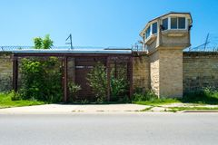 Side entrance and guard tower at Joliet Penitentiary IL royalty free stock photos