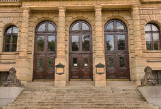 Side entrance of the Rudolfinum Concert Hall in Prague Royalty Free Stock Photos