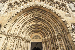 Side entrance to a gothic church. Royalty Free Stock Image