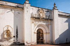 Side entry of the Ruin of Cathedral de Santiago in Antigua royalty free stock images